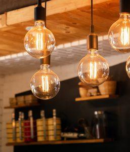Stylische LED-Lichterketten Lampen.